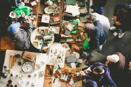 overhead shot of a flea market
