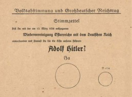 A voting card from the Anschluss of Austria