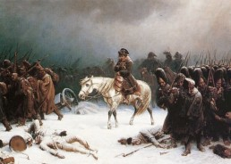 Napoleon freezing in the snow as his soldiers lay frozen around him